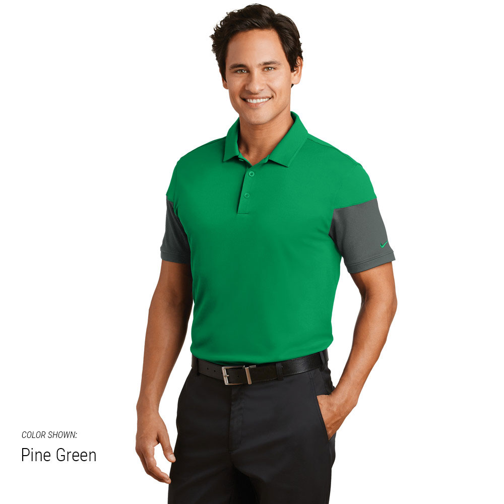 Nike golf dri fit sleeve colorblock modern fit polo for Modern fit golf shirt